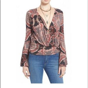 Free people Fiona floral wrap shirt
